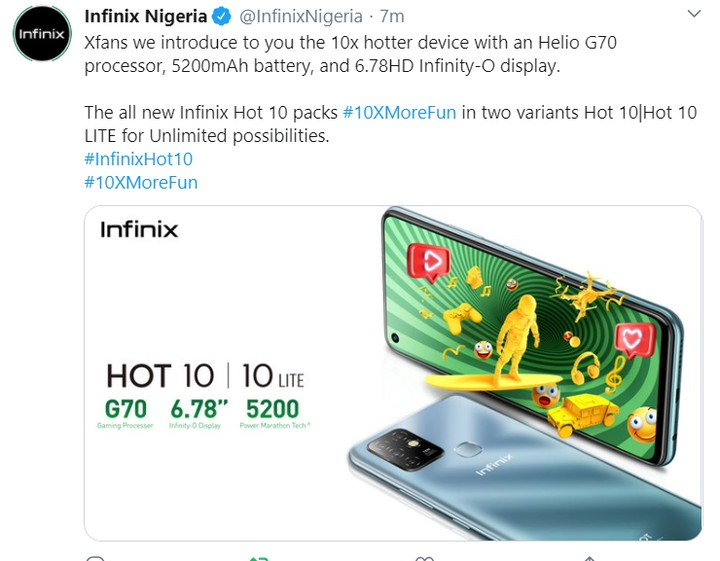 infinix hot 10 price tweet