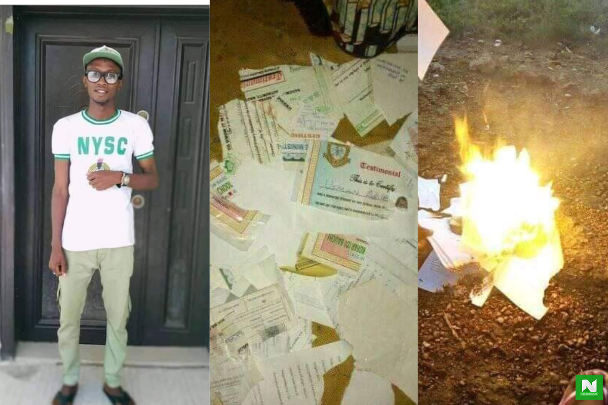 'School Na Scam' - Frustrated Graduate Burns All Certificates, Unable To Find A Job