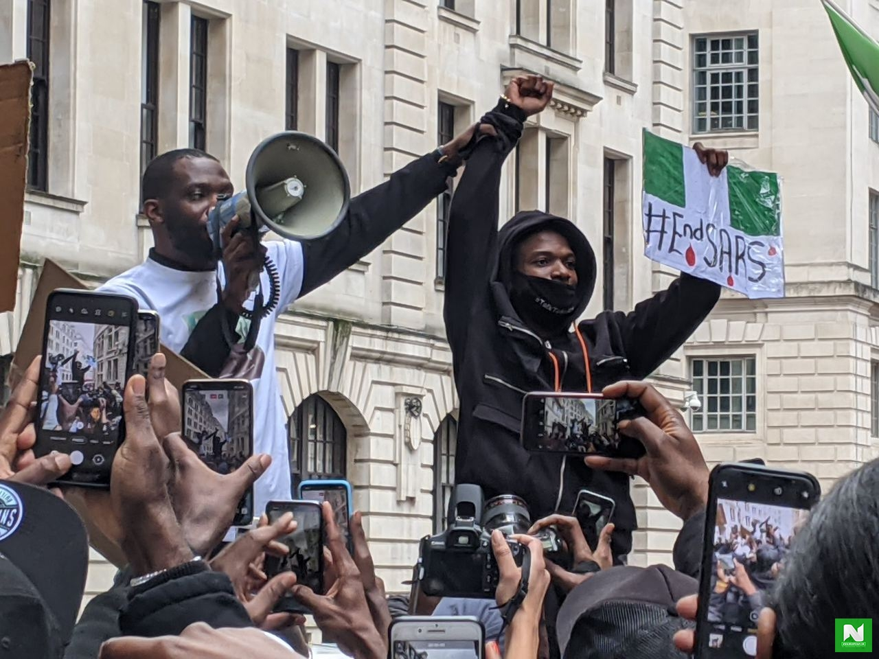 Hundreds Of Nigerians Join Wizkid's #EndSARS Protest In London (Video)