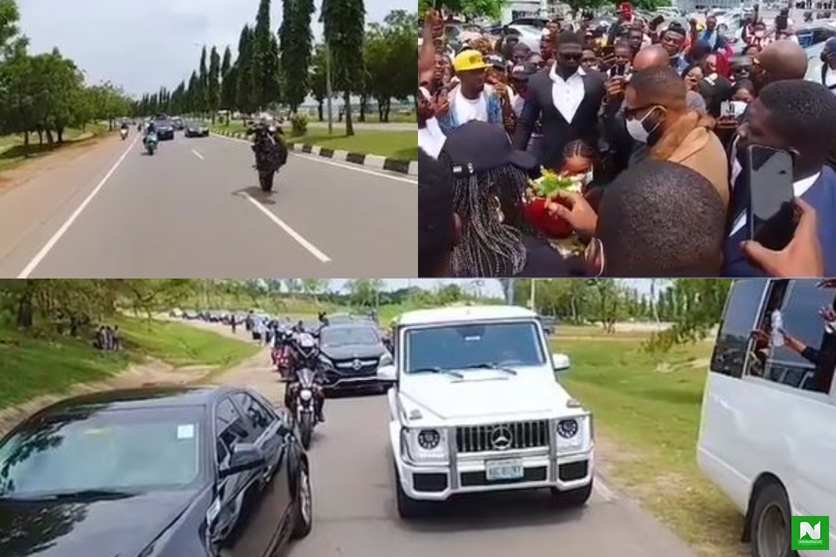 Check Out The Special Convoy Given To Kiddwaya At The Nnamdi Azikiwe International Airport In Abuja (Video)