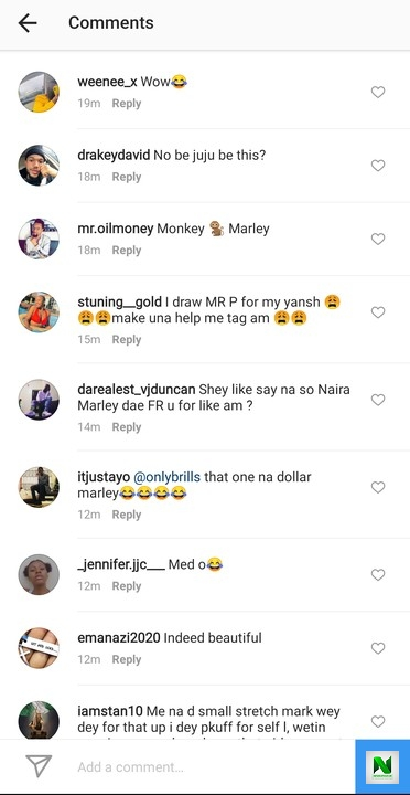 Nigerian Reacts As Lady Flaunts Her Tattoo Of Naira Marley's Face On Her Laps