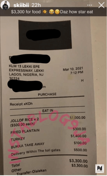 Food receipt